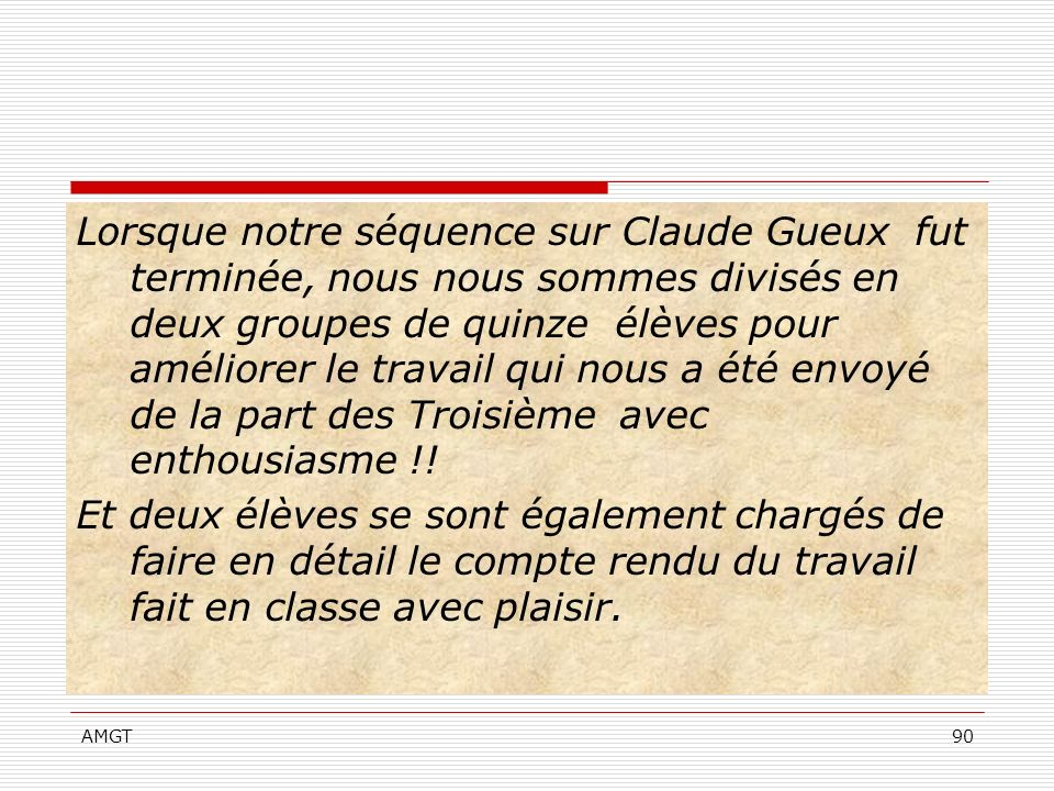 Lorsque notre séquence sur Claude Gueux fut terminée, nous nous sommes divisés en deux groupes de quinze élèves pour améliorer le travail qui nous a été envoyé de la part des Troisième avec enthousiasme !!