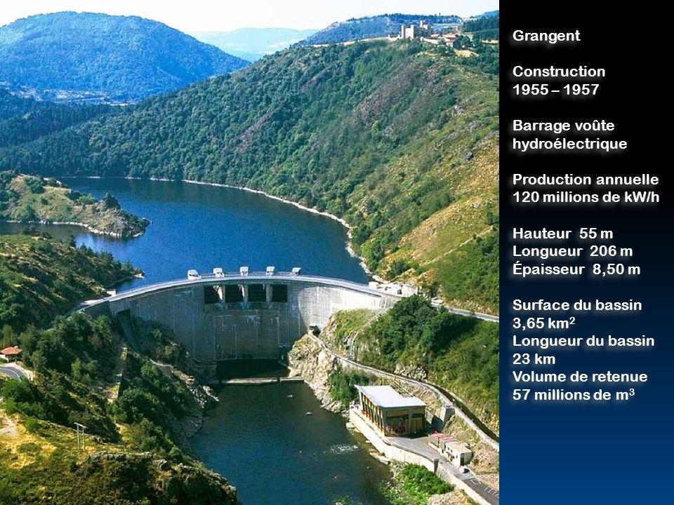 Grangent Construction. 1955 – 1957. Barrage voûte. hydroélectrique. Production annuelle. 120 millions de kW/h.