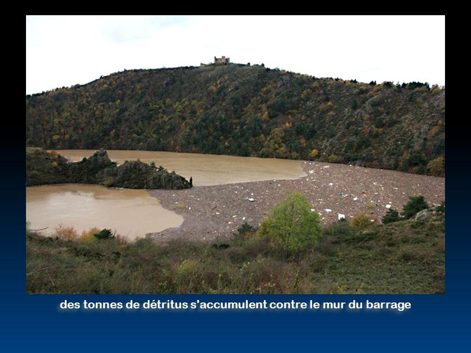 des tonnes de détritus s accumulent contre le mur du barrage