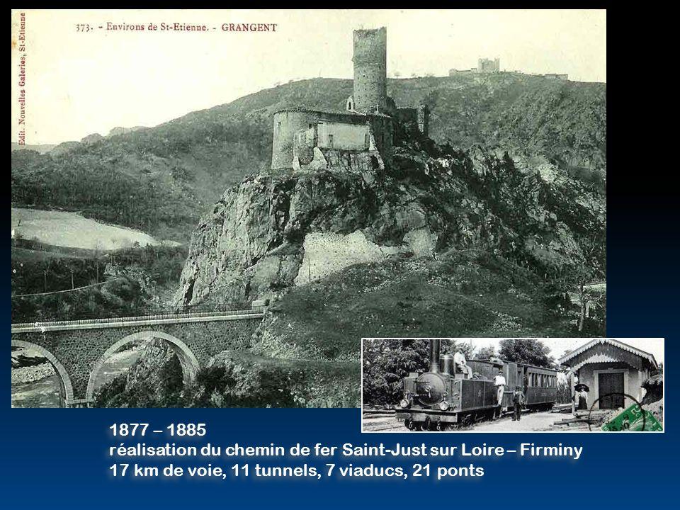 1877 – 1885 réalisation du chemin de fer Saint-Just sur Loire – Firminy.