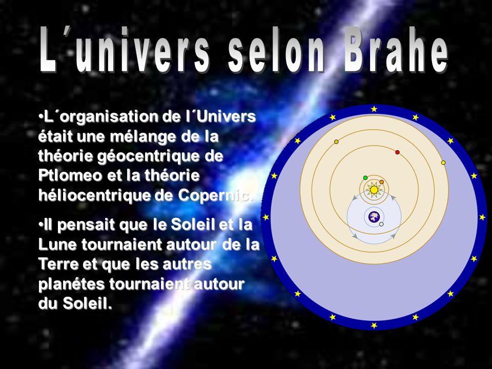 L´univers selon Brahe L´organisation de l´Univers était une mélange de la théorie géocentrique de Ptlomeo et la théorie héliocentrique de Copernic.
