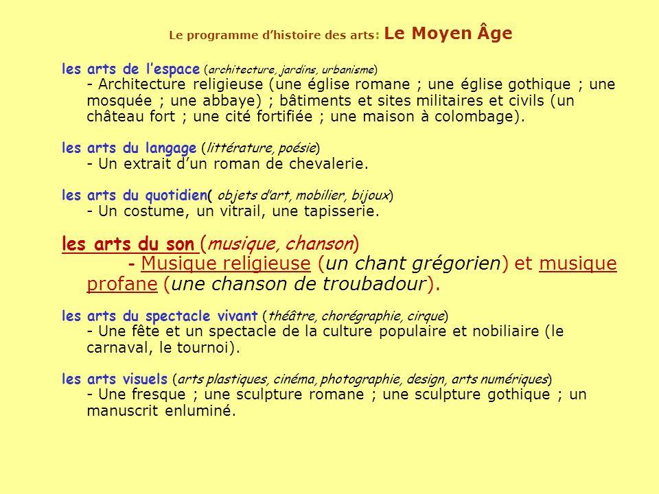 Le programme d'histoire des arts: Le Moyen Âge
