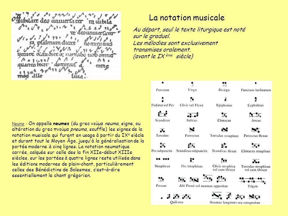 La notation musicale Au départ, seul le texte liturgique est noté sur le graduel. Les mélodies sont exclusivement transmises oralement.