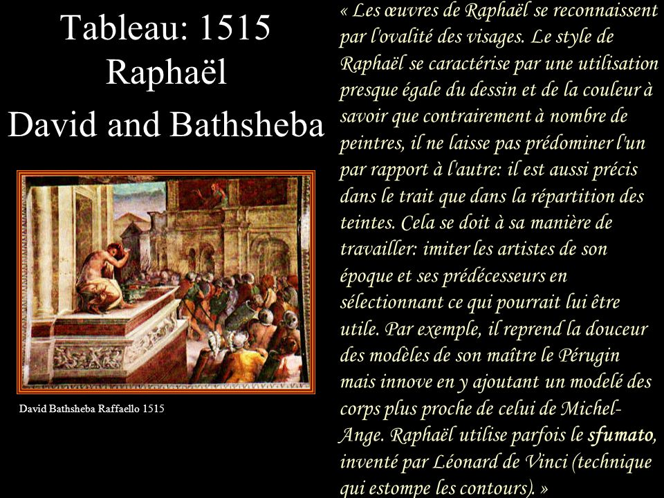 Tableau: 1515 Raphaël David and Bathsheba