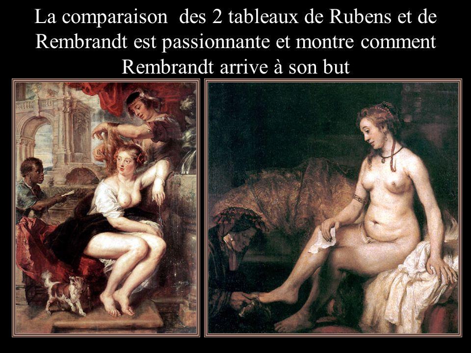 La comparaison des 2 tableaux de Rubens et de Rembrandt est passionnante et montre comment Rembrandt arrive à son but