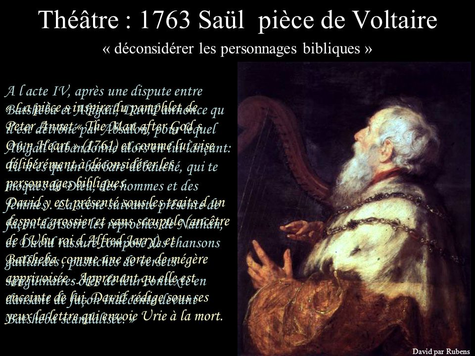 Théâtre : 1763 Saül pièce de Voltaire