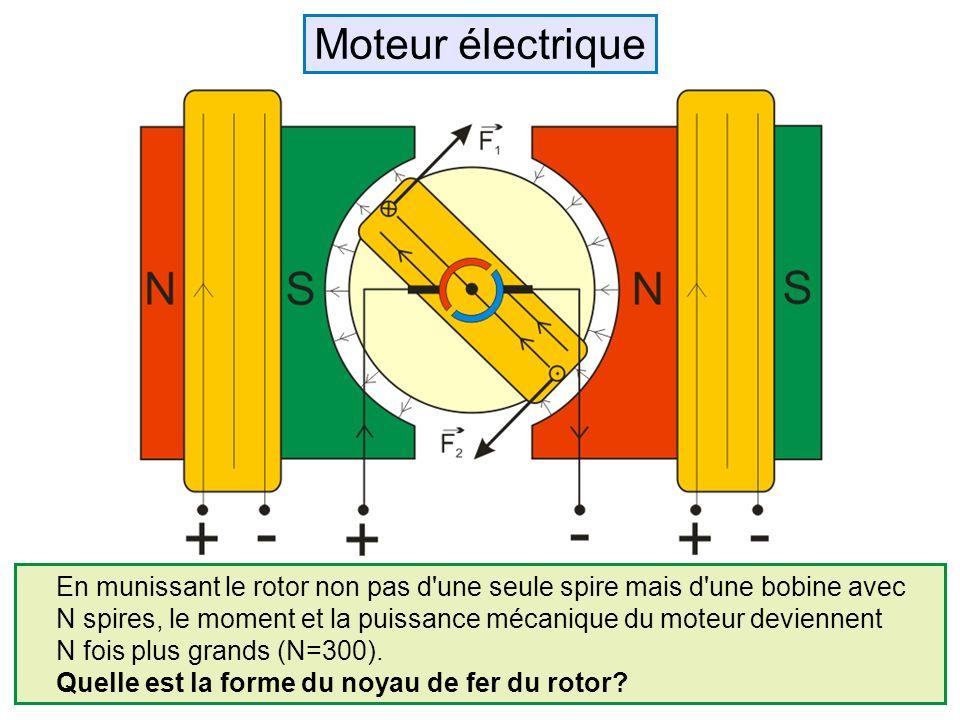 Moteur électrique En munissant le rotor non pas d une seule spire mais d une bobine avec.