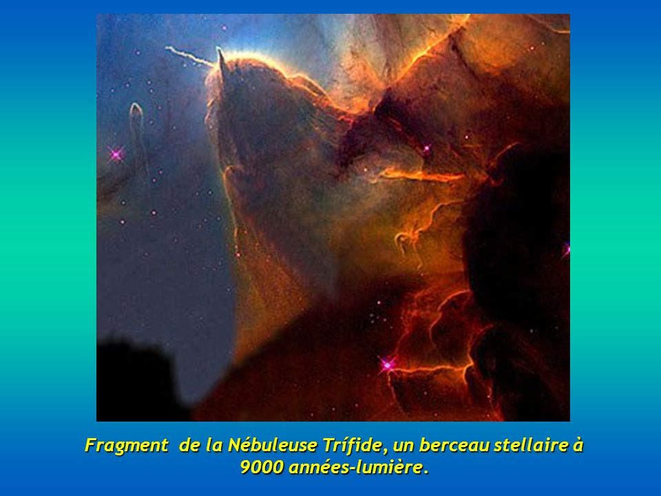 Fragment de la Nébuleuse Trífide, un berceau stellaire à 9000 années-lumière.