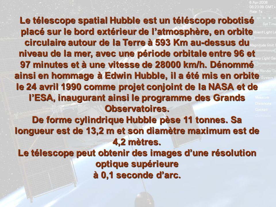 Le télescope spatial Hubble est un téléscope robotisé placé sur le bord extérieur de l'atmosphère, en orbite circulaire autour de la Terre à 593 Km au-dessus du niveau de la mer, avec une période orbitale entre 96 et 97 minutes et à une vitesse de 28000 km/h. Dénommé ainsi en hommage à Edwin Hubble, il a été mis en orbite le 24 avril 1990 comme projet conjoint de la NASA et de l'ESA, inaugurant ainsi le programme des Grands Observatoires.