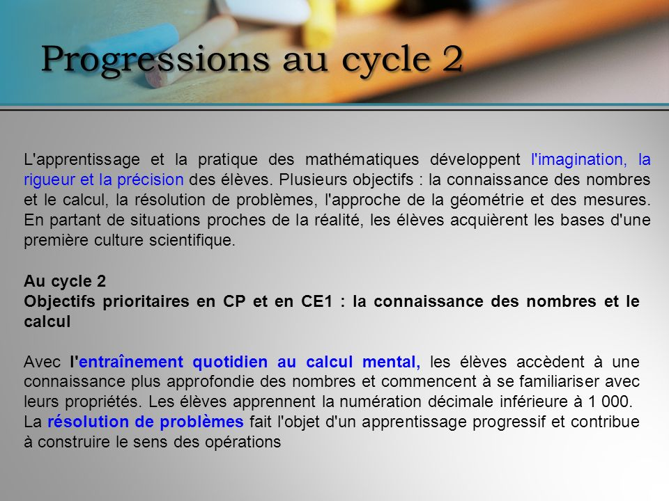 Progressions au cycle 2