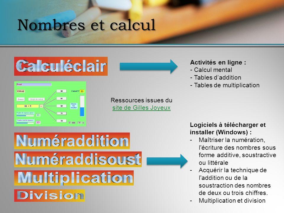 Ressources issues du site de Gilles Joyeux