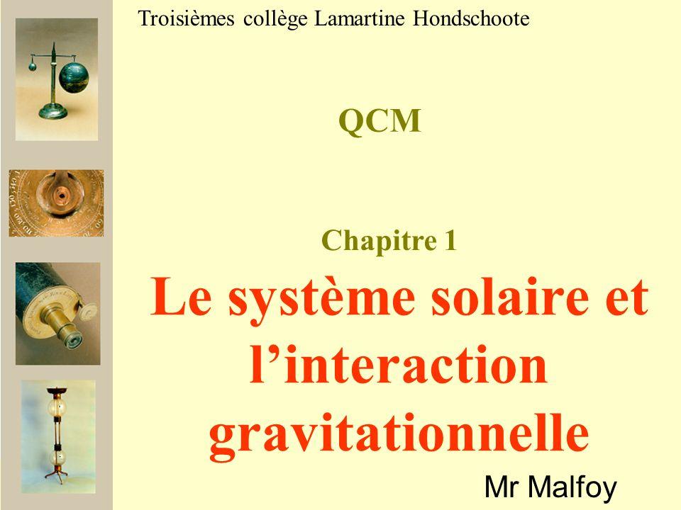 Le système solaire et l'interaction gravitationnelle