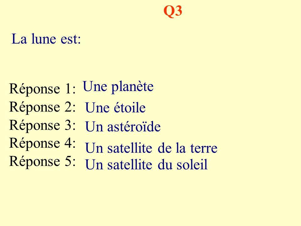 Q3 La lune est: Une planète. Réponse 1: Réponse 2: Réponse 3: Réponse 4: Réponse 5: Une étoile.
