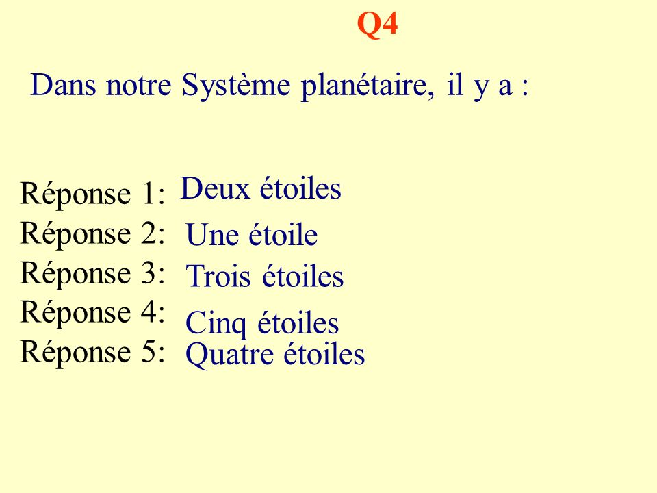 Q4 Dans notre Système planétaire, il y a : Deux étoiles. Réponse 1: Réponse 2: Réponse 3: Réponse 4: