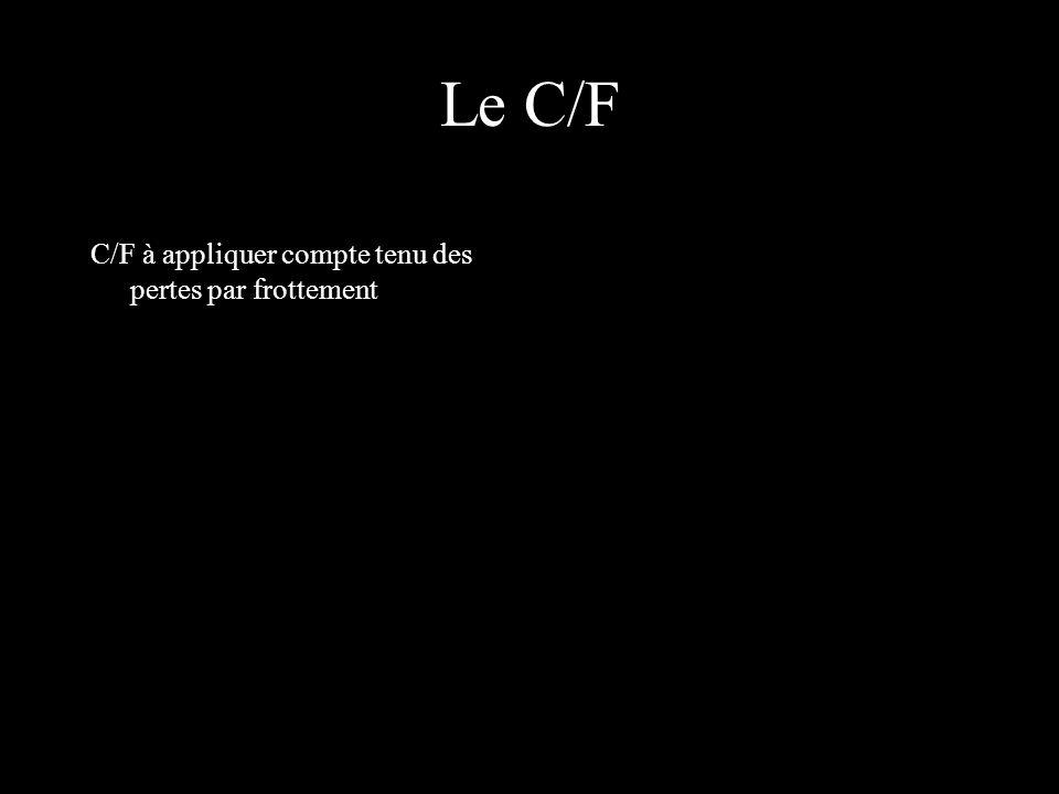 Le C/F C/F à appliquer compte tenu des pertes par frottement
