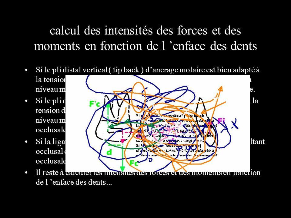 calcul des intensités des forces et des moments en fonction de l 'enface des dents