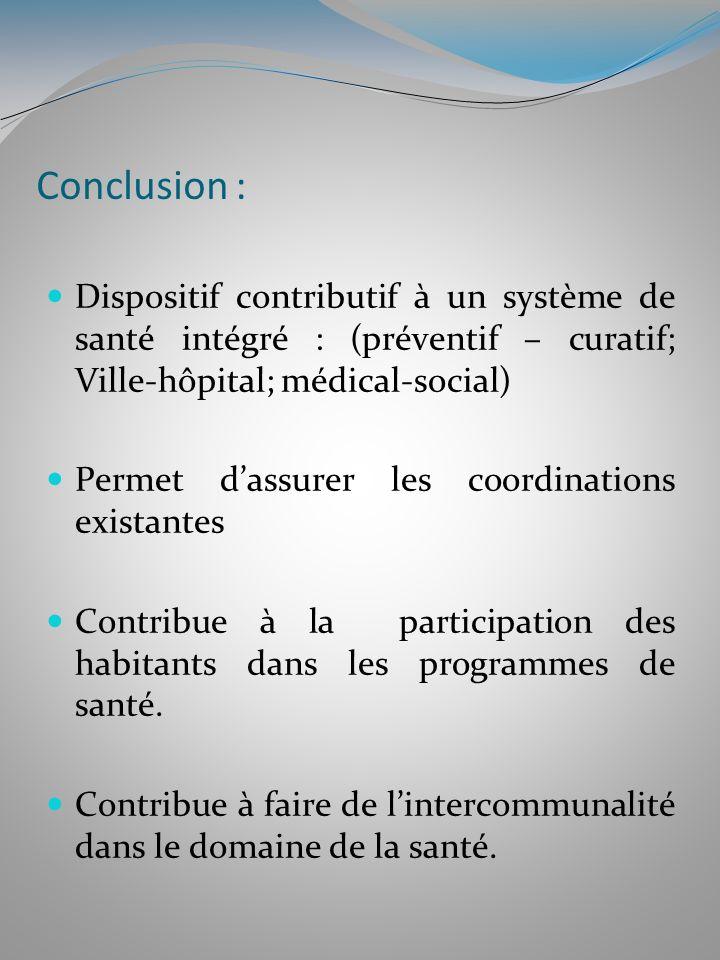 Conclusion : Dispositif contributif à un système de santé intégré : (préventif – curatif; Ville-hôpital; médical-social)