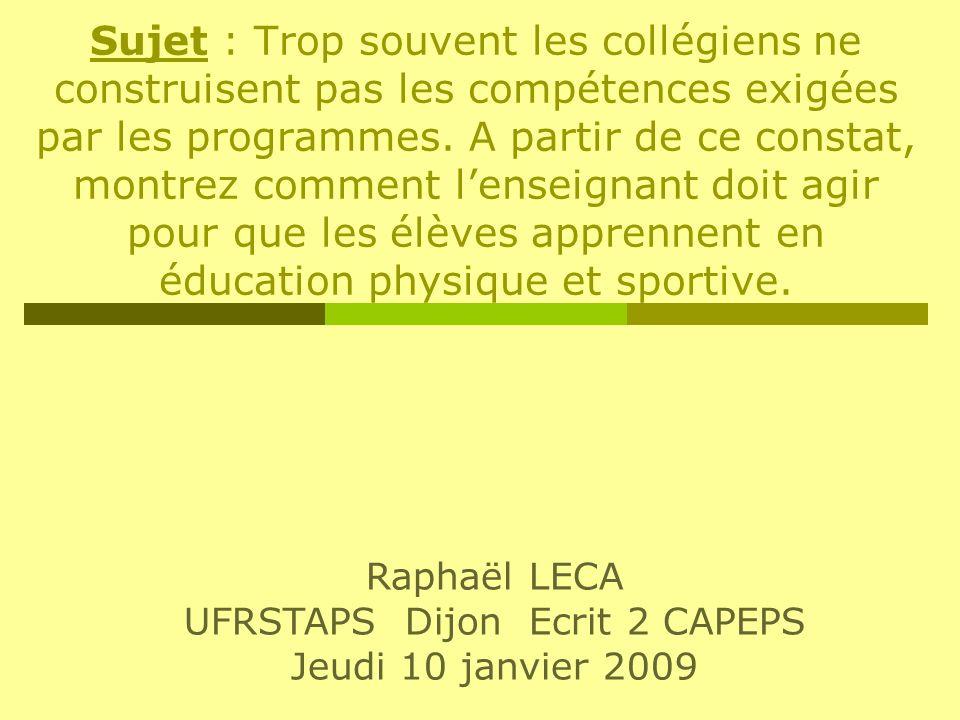 UFRSTAPS Dijon Ecrit 2 CAPEPS
