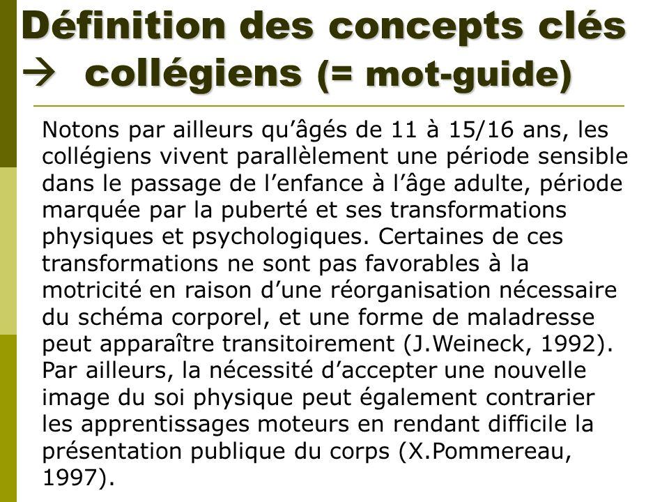 Définition des concepts clés  collégiens (= mot-guide)