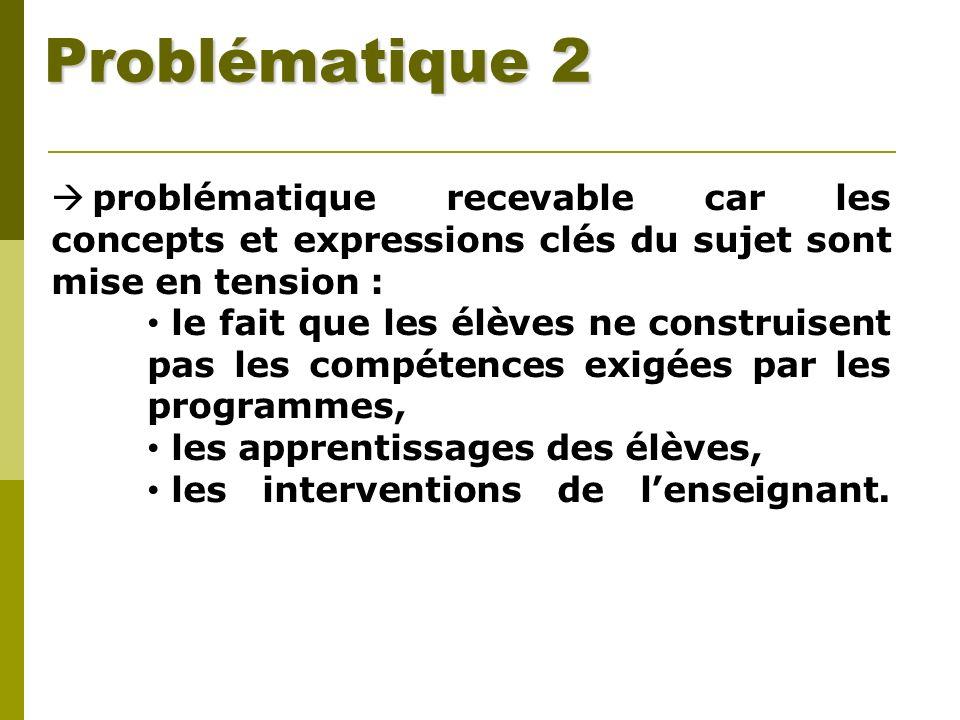 Problématique 2 problématique recevable car les concepts et expressions clés du sujet sont mise en tension :