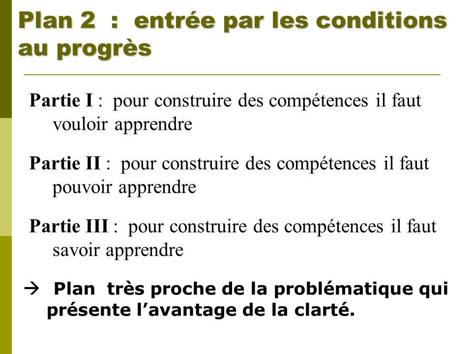 Plan 2 : entrée par les conditions au progrès