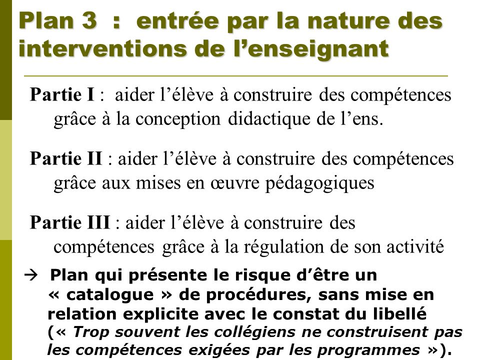 Plan 3 : entrée par la nature des interventions de l'enseignant