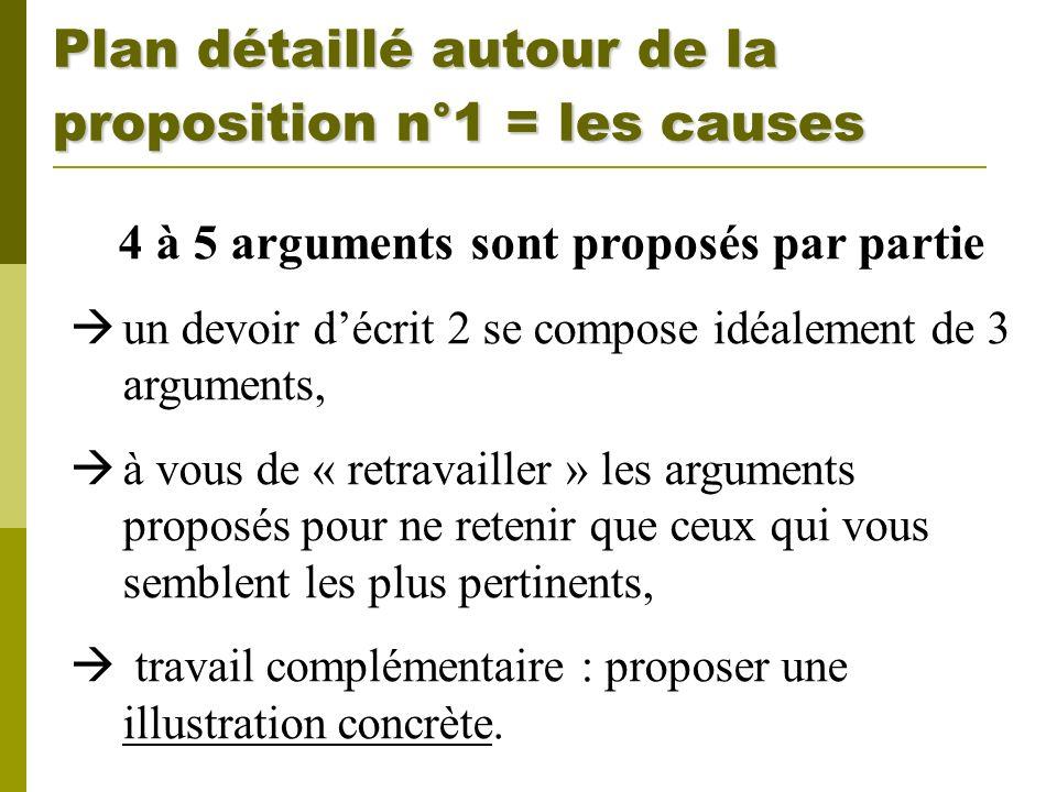 Plan détaillé autour de la proposition n°1 = les causes