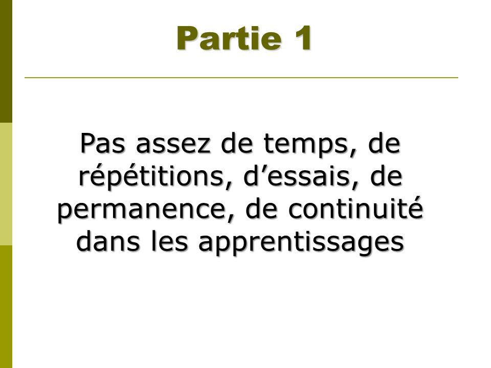 Partie 1 Pas assez de temps, de répétitions, d'essais, de permanence, de continuité dans les apprentissages.