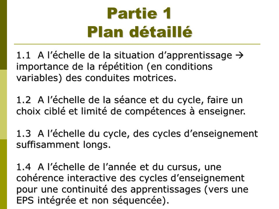 Partie 1 Plan détaillé