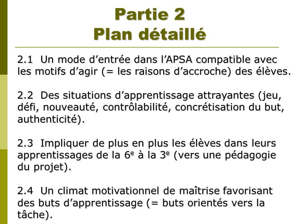 Partie 2 Plan détaillé 2.1 Un mode d'entrée dans l'APSA compatible avec les motifs d'agir (= les raisons d'accroche) des élèves.