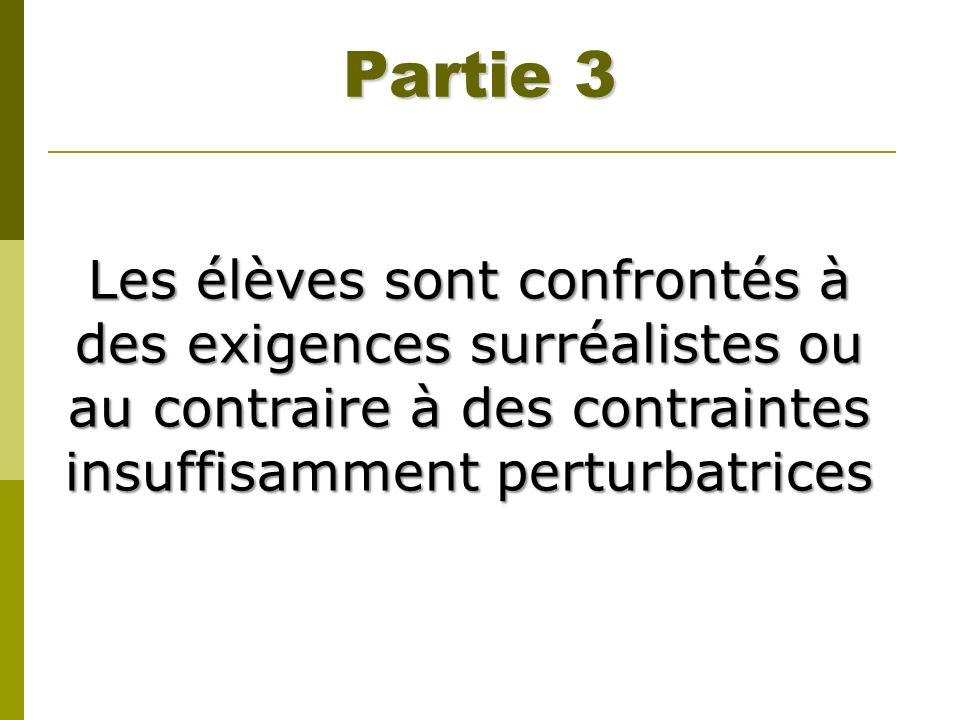 Partie 3 Les élèves sont confrontés à des exigences surréalistes ou au contraire à des contraintes insuffisamment perturbatrices.