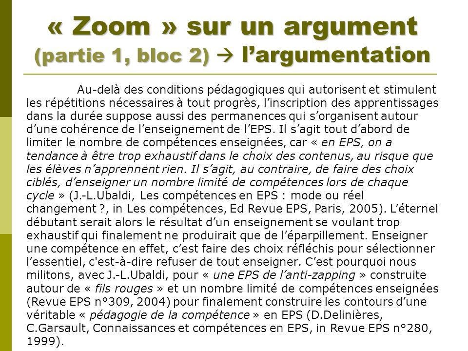 « Zoom » sur un argument (partie 1, bloc 2)  l'argumentation
