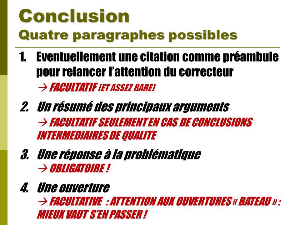 Conclusion Quatre paragraphes possibles