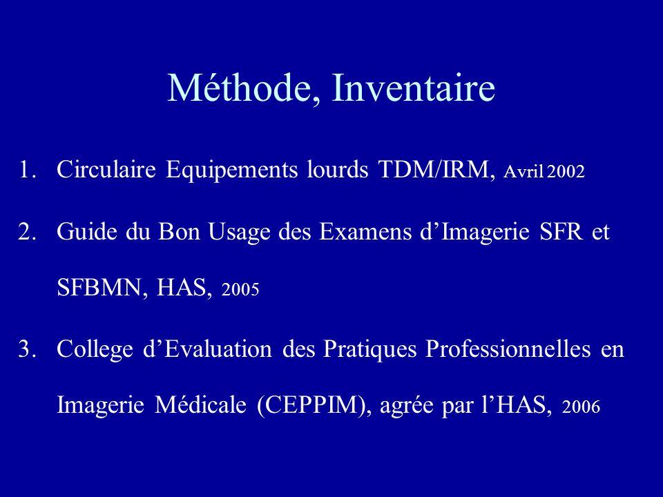Méthode, Inventaire Circulaire Equipements lourds TDM/IRM, Avril 2002