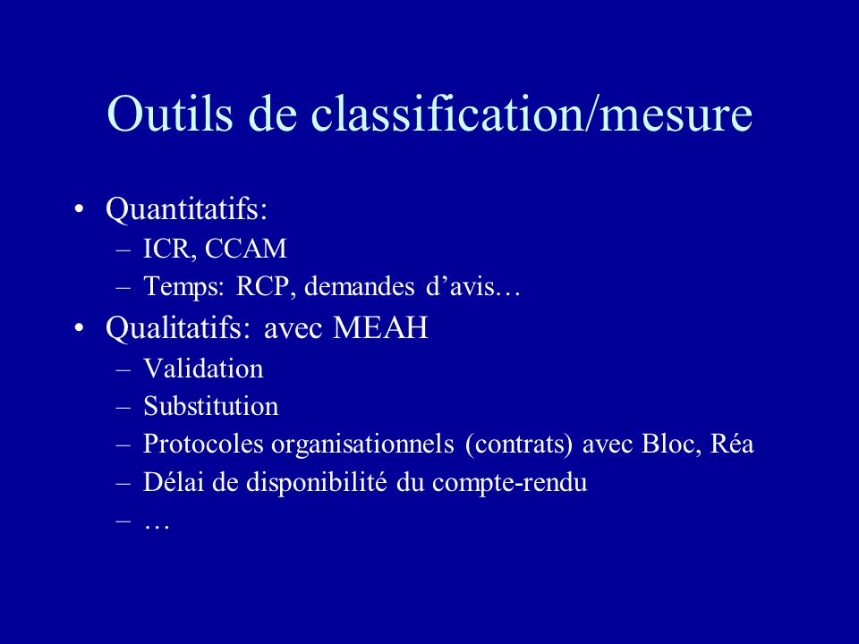 Outils de classification/mesure