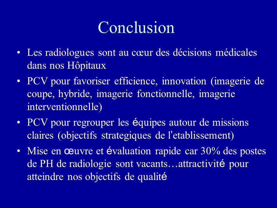 Conclusion Les radiologues sont au cœur des décisions médicales dans nos Hôpitaux.