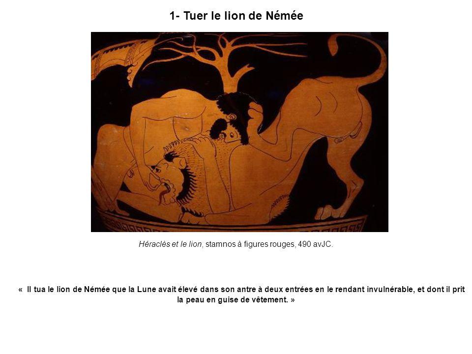 Héraclès et le lion, stamnos à figures rouges, 490 avJC.