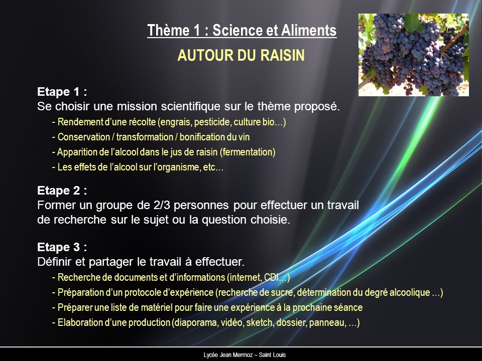 Thème 1 : Science et Aliments