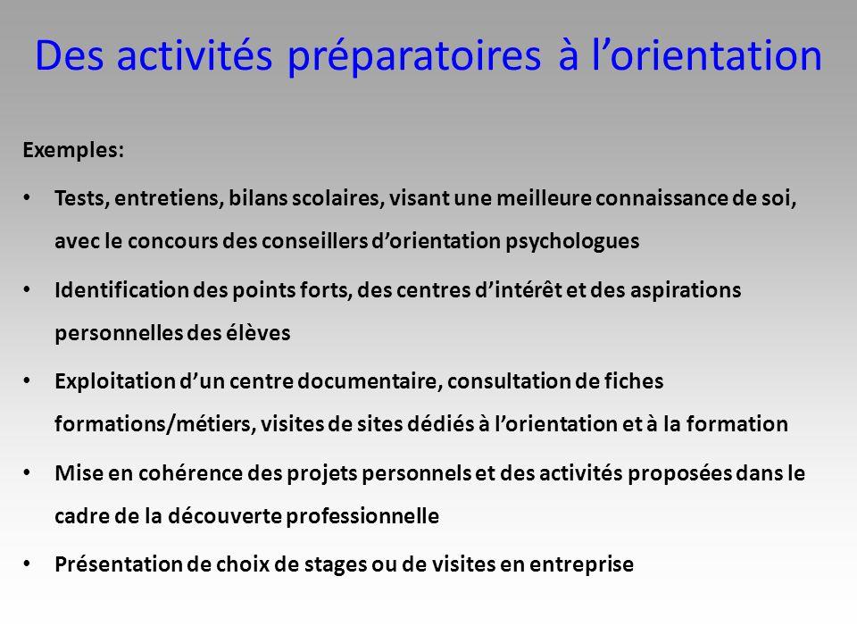 Des activités préparatoires à l'orientation