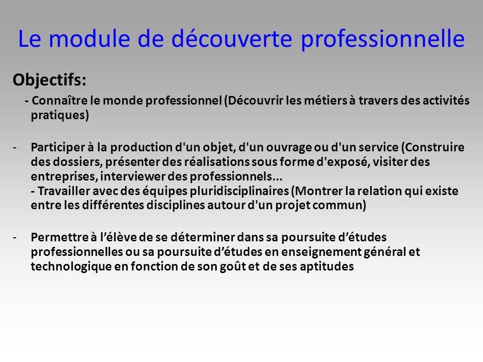 Le module de découverte professionnelle