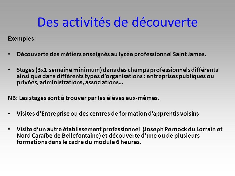 Des activités de découverte
