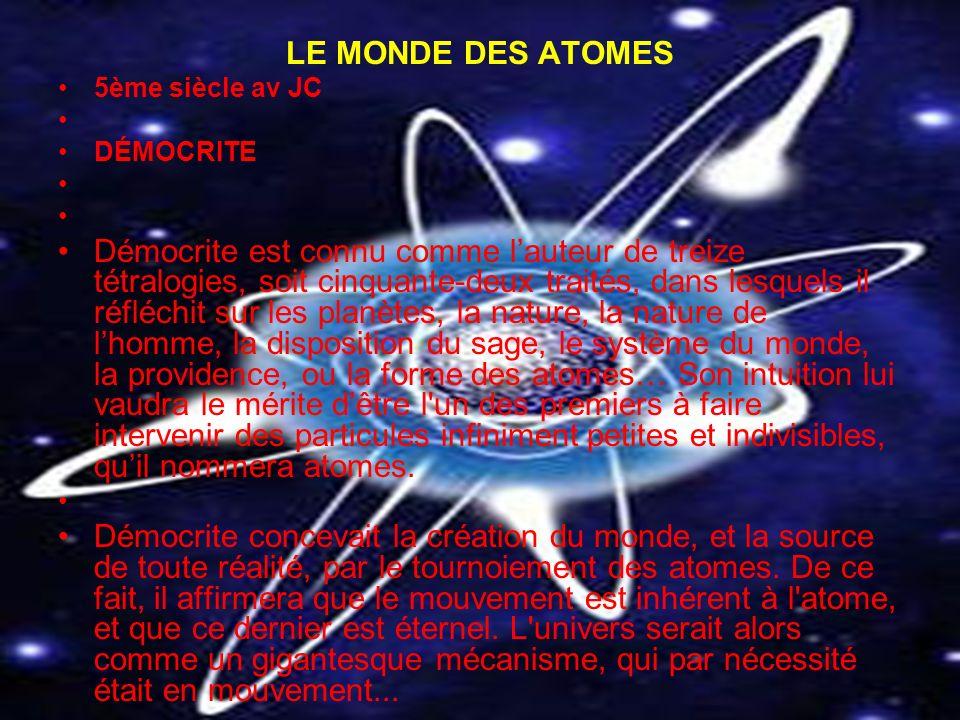 LE MONDE DES ATOMES 5ème siècle av JC. DÉMOCRITE