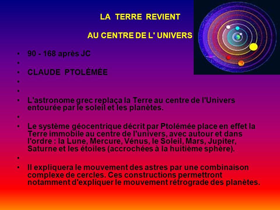 LA TERRE REVIENT AU CENTRE DE L UNIVERS