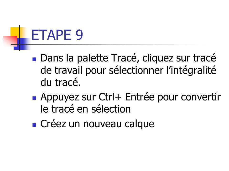 ETAPE 9 Dans la palette Tracé, cliquez sur tracé de travail pour sélectionner l'intégralité du tracé.