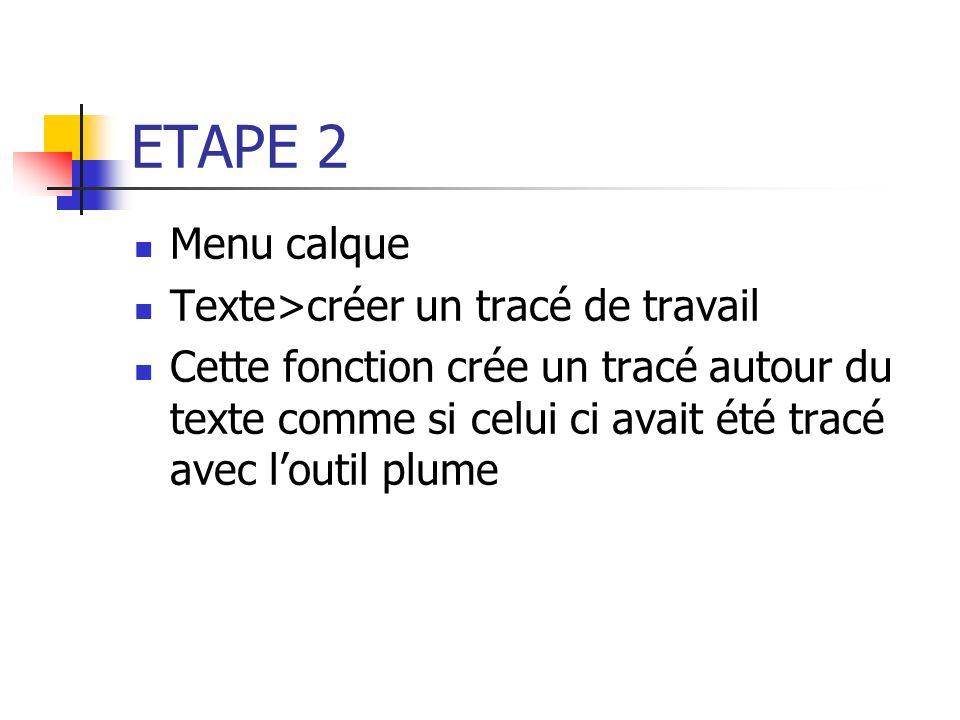 ETAPE 2 Menu calque Texte>créer un tracé de travail