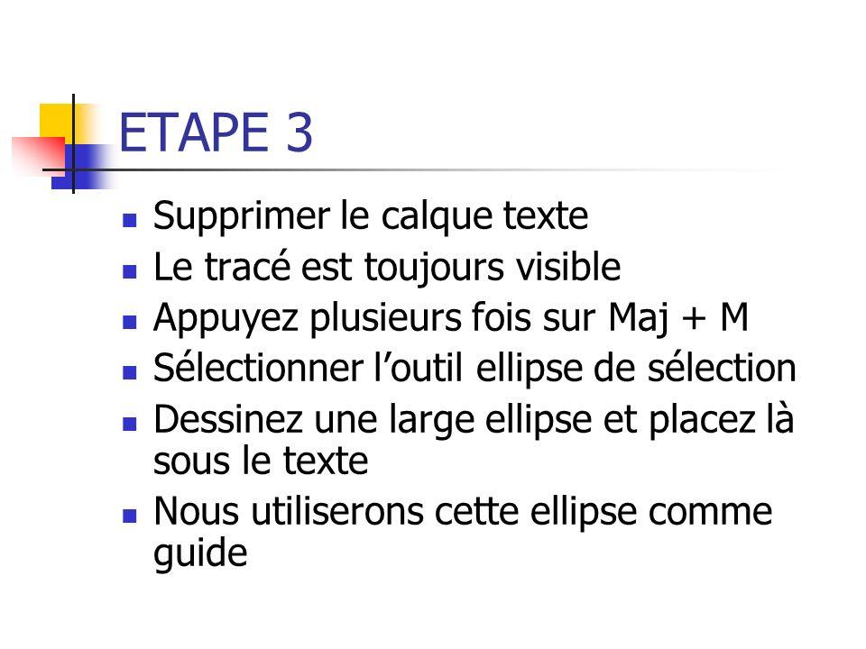 ETAPE 3 Supprimer le calque texte Le tracé est toujours visible