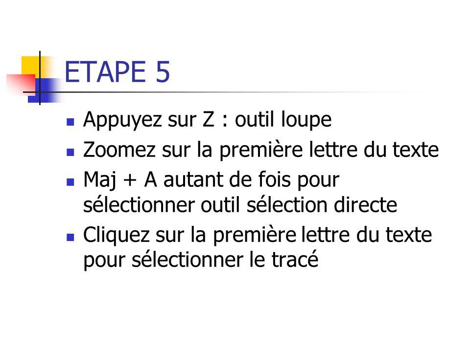 ETAPE 5 Appuyez sur Z : outil loupe