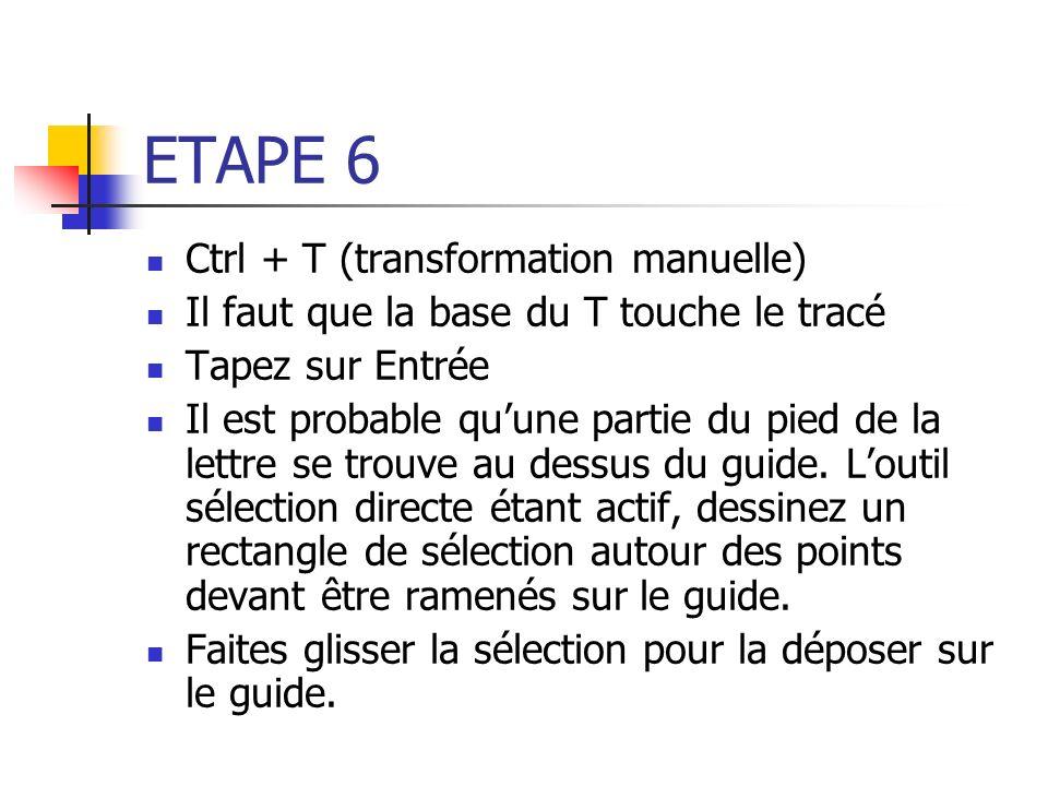 ETAPE 6 Ctrl + T (transformation manuelle)