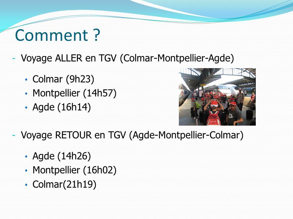 Comment Voyage ALLER en TGV (Colmar-Montpellier-Agde) Colmar (9h23)