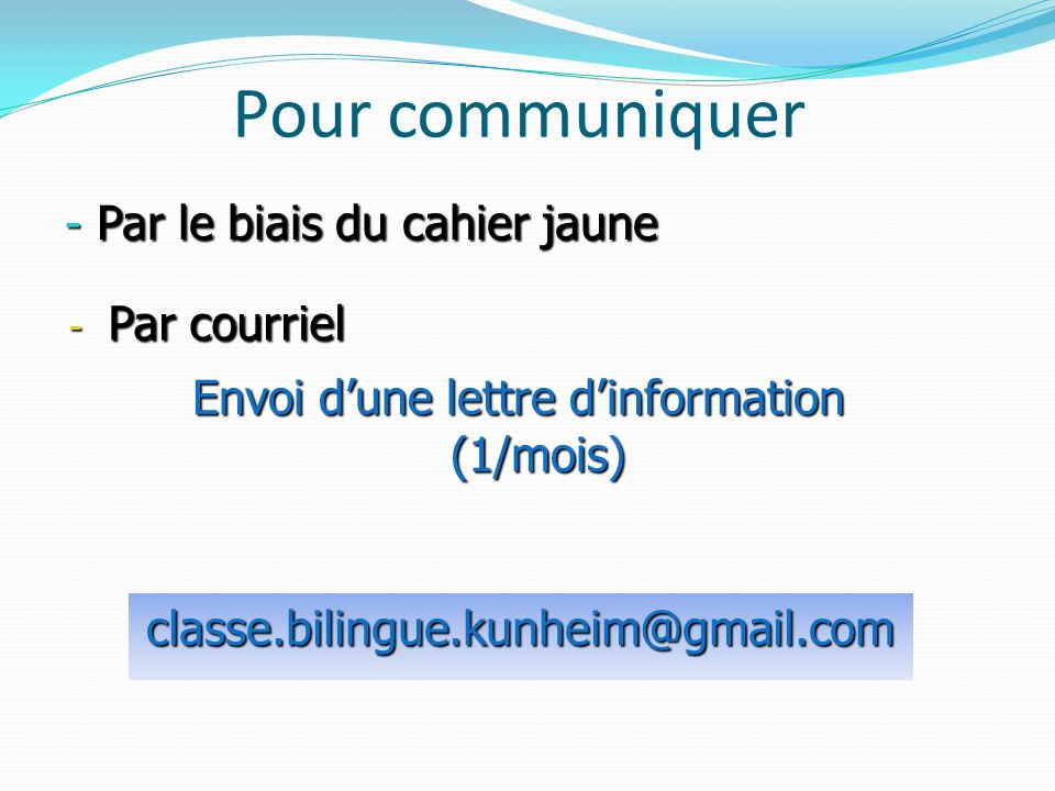 Envoi d'une lettre d'information (1/mois)